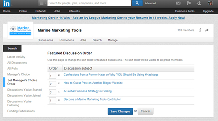 linkedin group set manager choice order