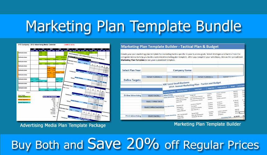 Marketing plan bundle marketing template builder and for Advertising media plan template